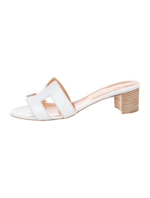Hermès Oasis Leather Sandals Leather Slides White