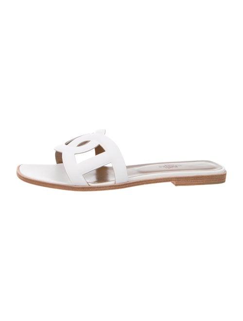 Hermès Leather Slides White