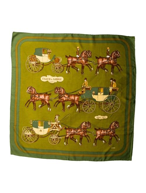 Hermès Vintage Coach & Saddle Scarf Green