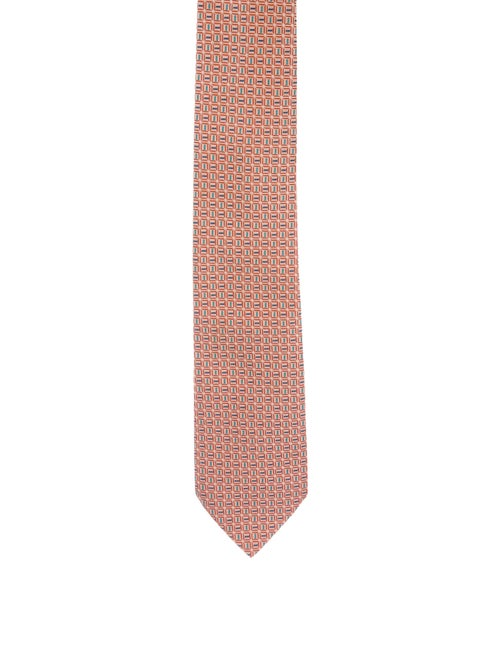 Hermès Silk Jacquard Tie orange