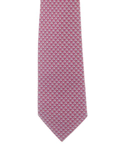 Hermès Patterned Silk Tie pink - image 1