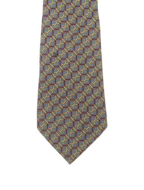 Hermès Printed Silk Tie teal