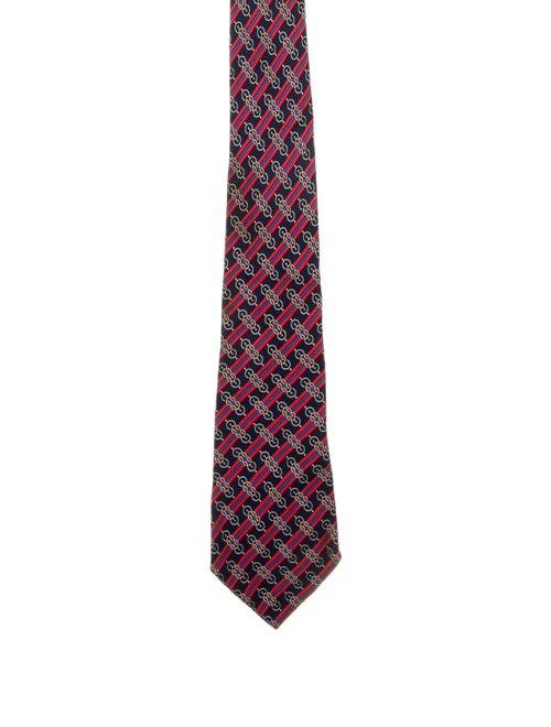 Hermès Printed Silk Tie navy