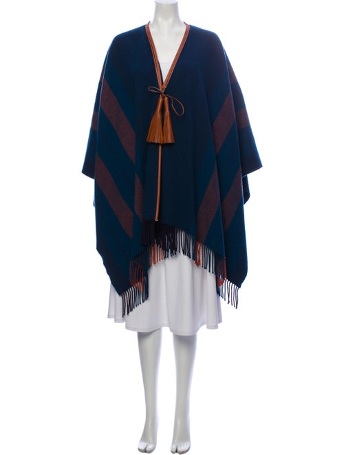 Hermès Merino Wool Striped Poncho Wool