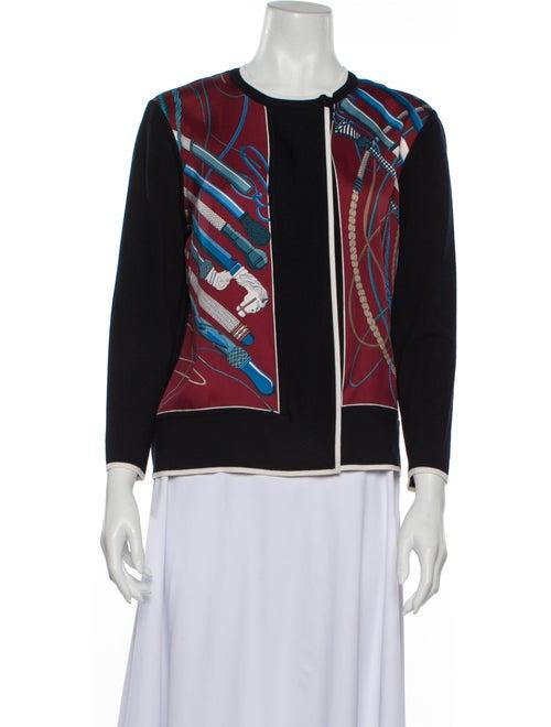 Hermès Silk Printed Sweater Blue