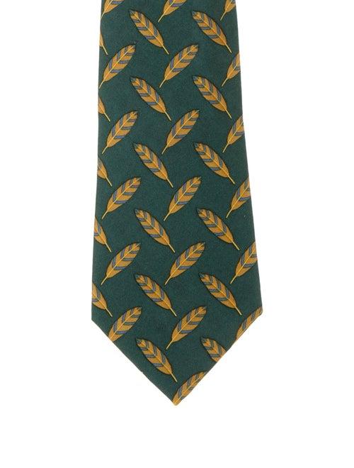 Hermès Printed Silk Tie green