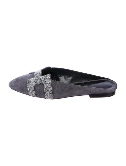 Hermès Crystal Roxane Mules Suede Mules Grey