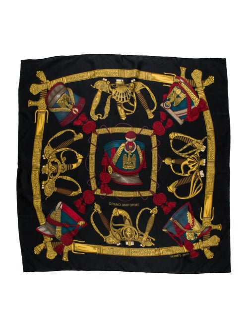 Hermès Grand Uniforme Silk Scarf Silk Scarf Black