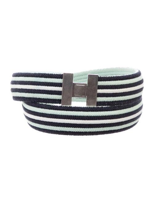 Hermès Striped Toile Belt Mint