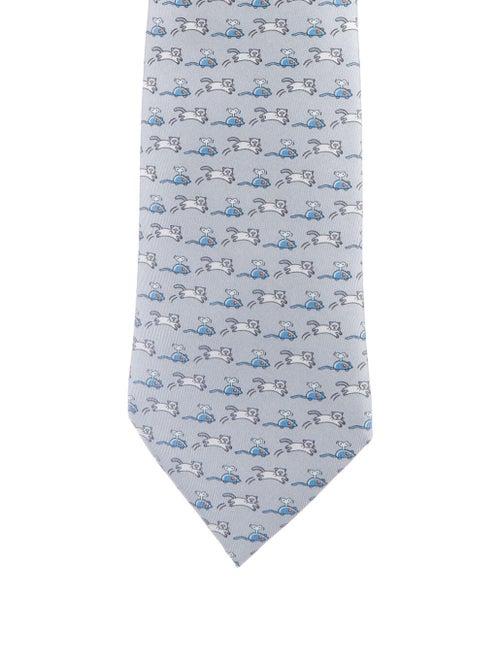 Hermès Men's Printed Silk Tie grey