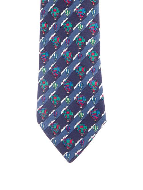 Hermès Men's Silk Printed Tie blue
