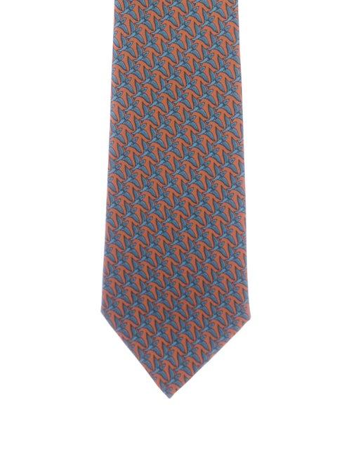 Hermès Men's Printed Silk Tie orange