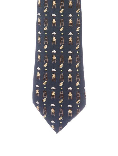 Hermès Men's Printed Silk Tie blue