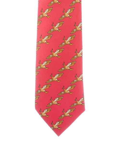 Hermès Men's Printed Silk Tie red