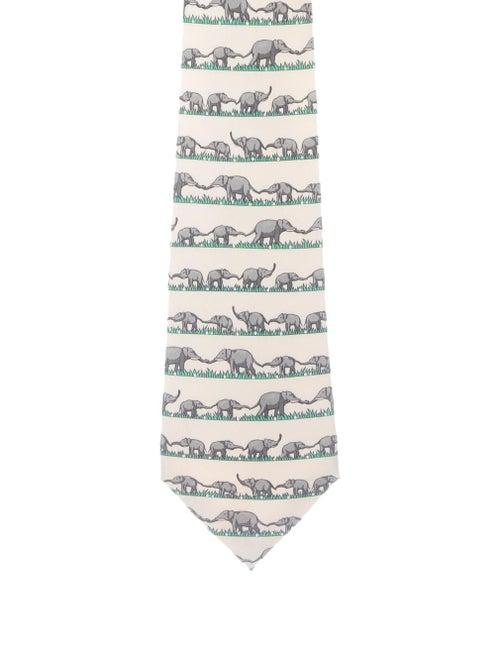 Hermès Men's Printed Silk Tie beige