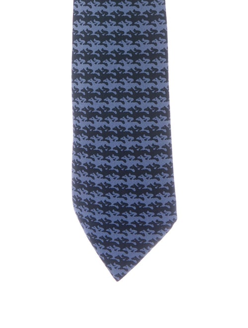Hermès Hermes SIlk Printed Tie blue