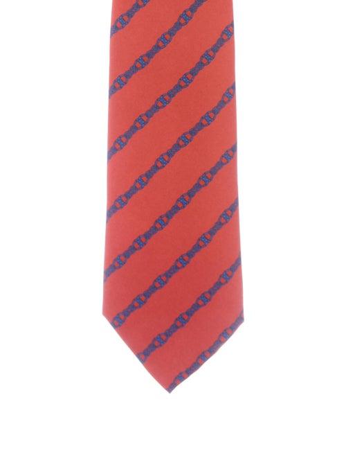 Hermès Hermes Silk Printed Tie red