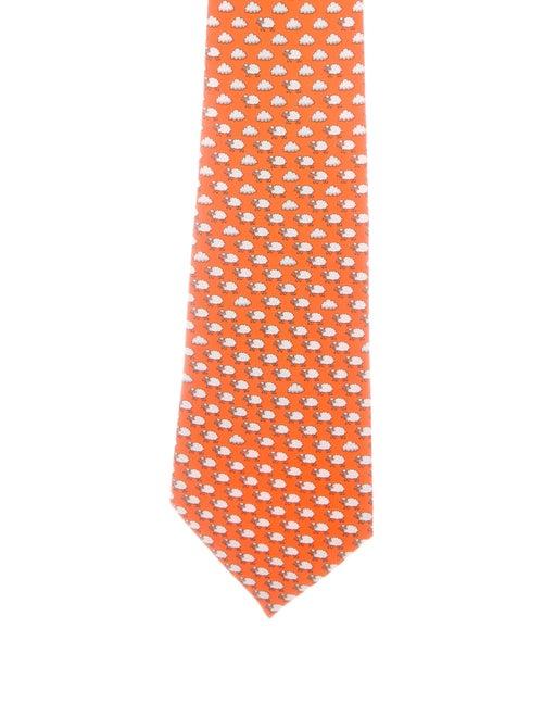 Hermès Silk Printed Tie orange