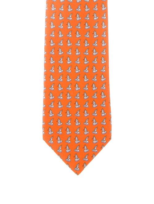 Hermès Silk Pattern Tie orange