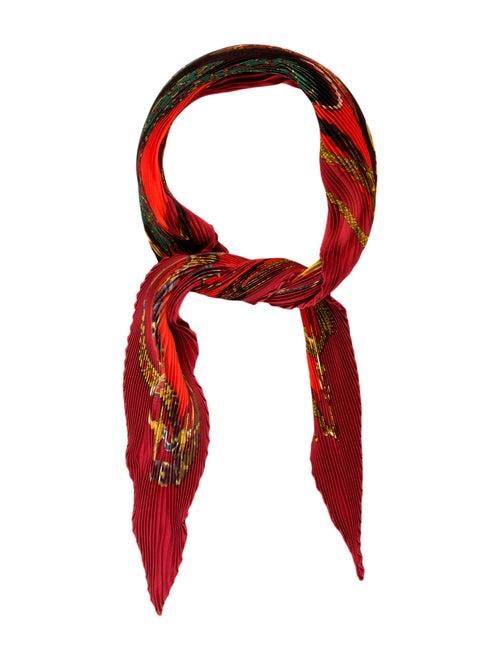Hermès Festival Silk Plissé Scarf Red