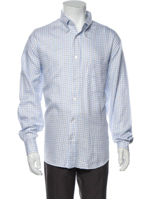 Hermès Plaid Print Long Sleeve Shirt Blue