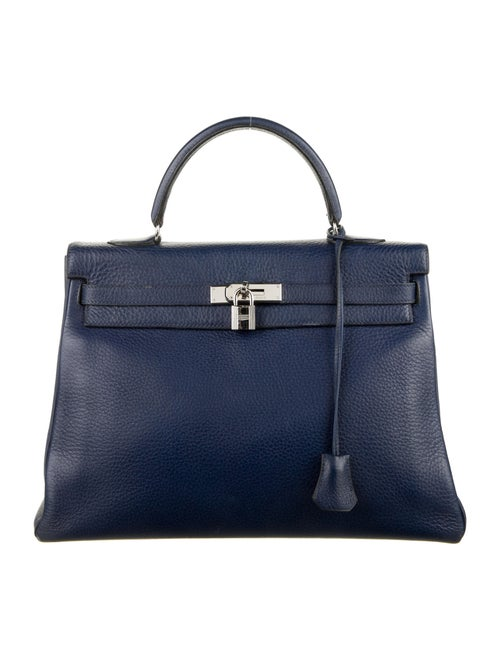 Hermès Vintage Clemence Kelly Retourne 35 Blue - image 1