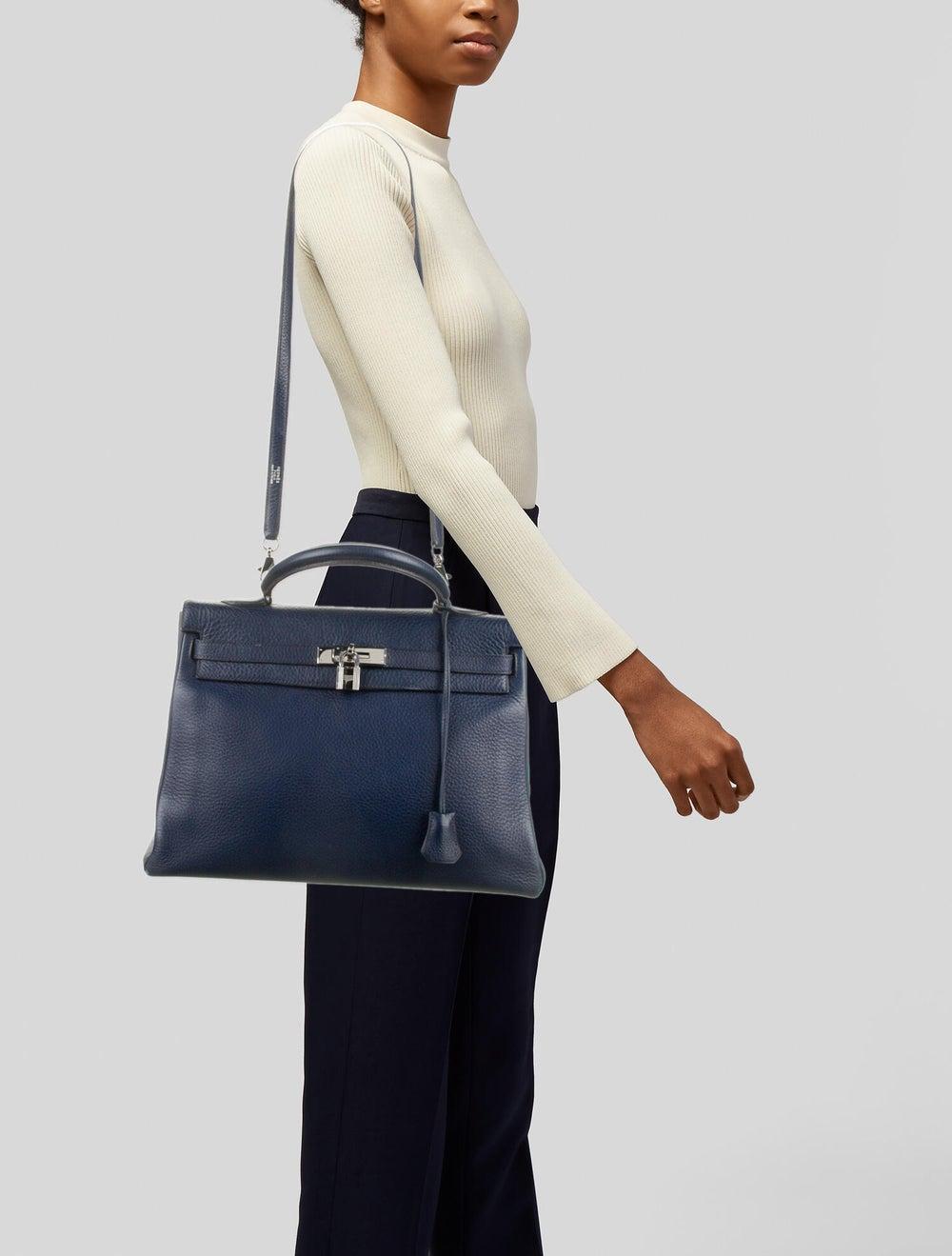 Hermès Vintage Clemence Kelly Retourne 35 Blue - image 2