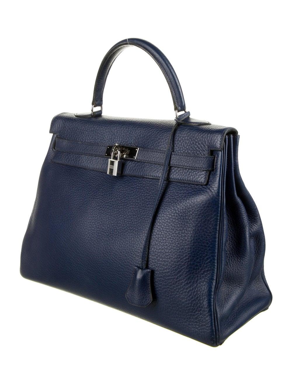 Hermès Vintage Clemence Kelly Retourne 35 Blue - image 3