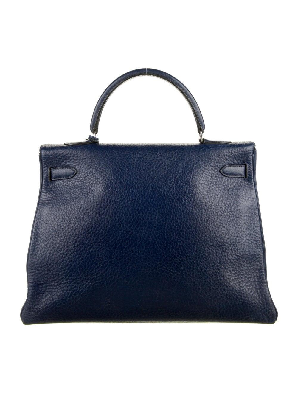 Hermès Vintage Clemence Kelly Retourne 35 Blue - image 4