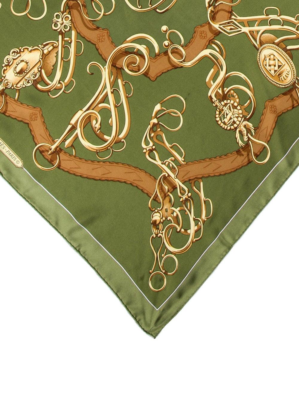 Hermès Silk Vintage Scarf Green - image 2