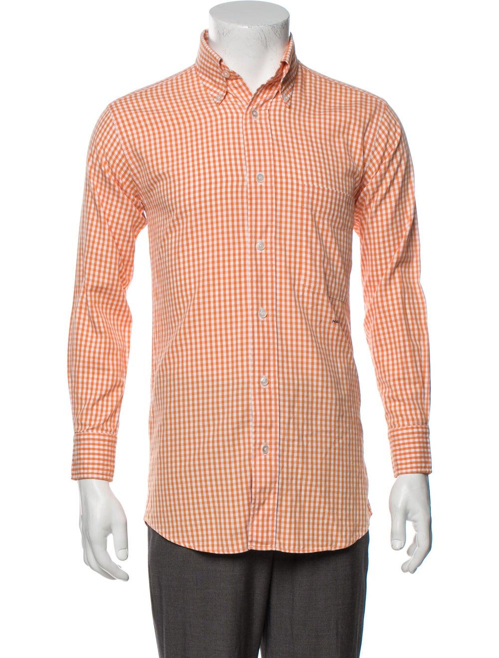 Hermès Vintage Plaid Print Shirt Orange - image 1
