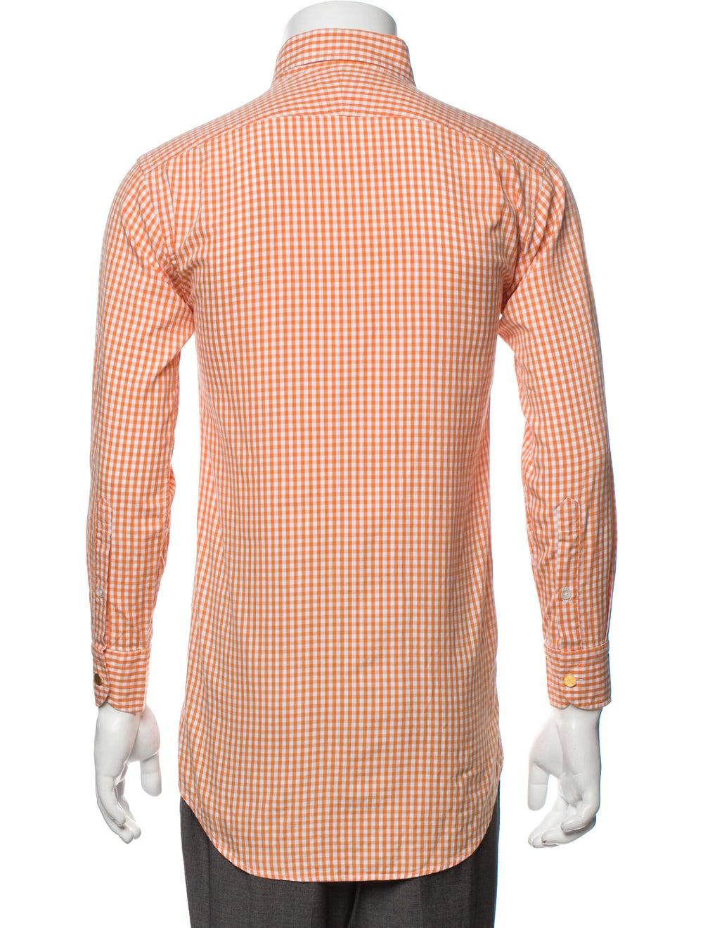 Hermès Vintage Plaid Print Shirt Orange - image 3