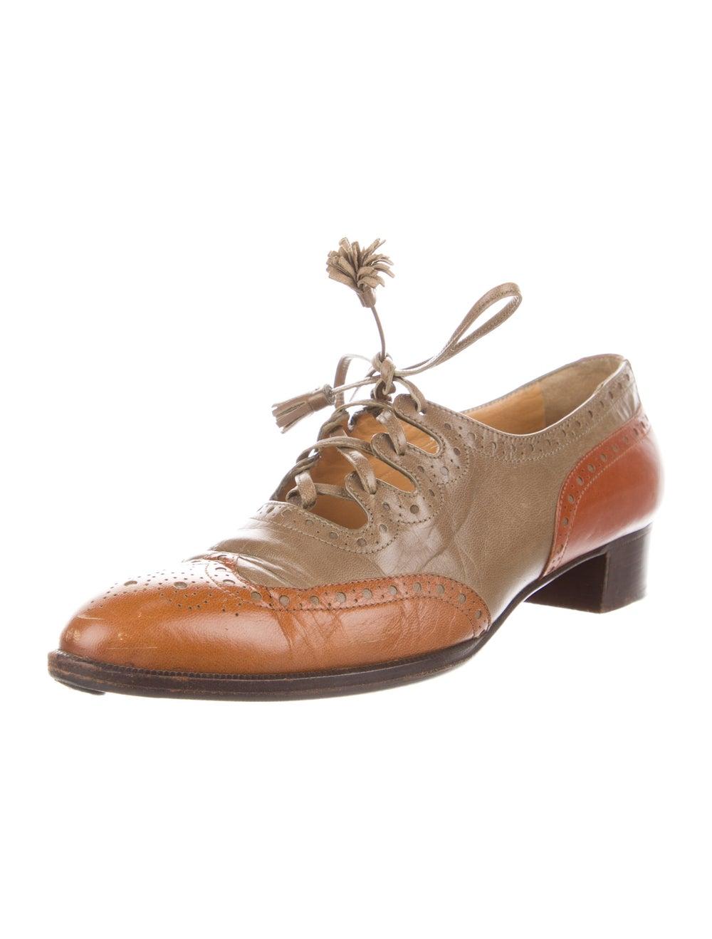 Hermès Vintage Leather Oxfords Brown - image 2