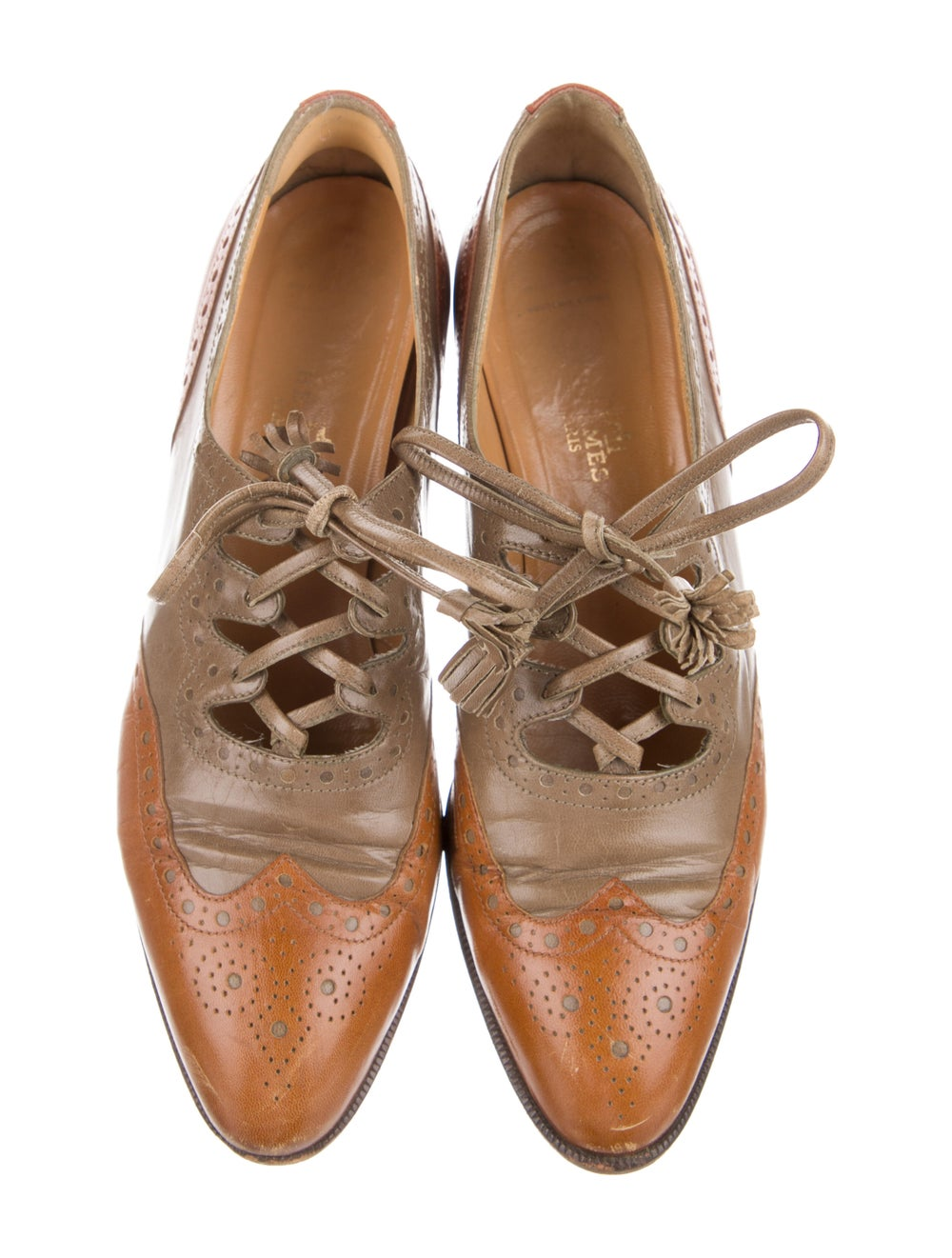 Hermès Vintage Leather Oxfords Brown - image 3