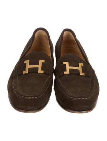 Suede Logo-Embellished Loafers