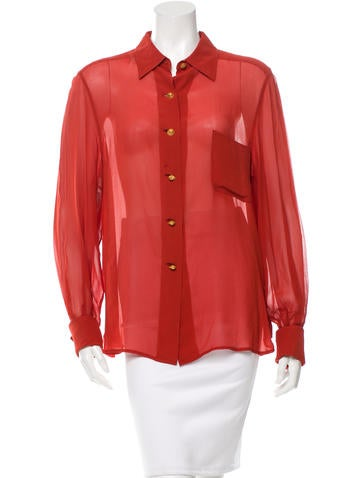 Hermès Sheer Button-Up Top None