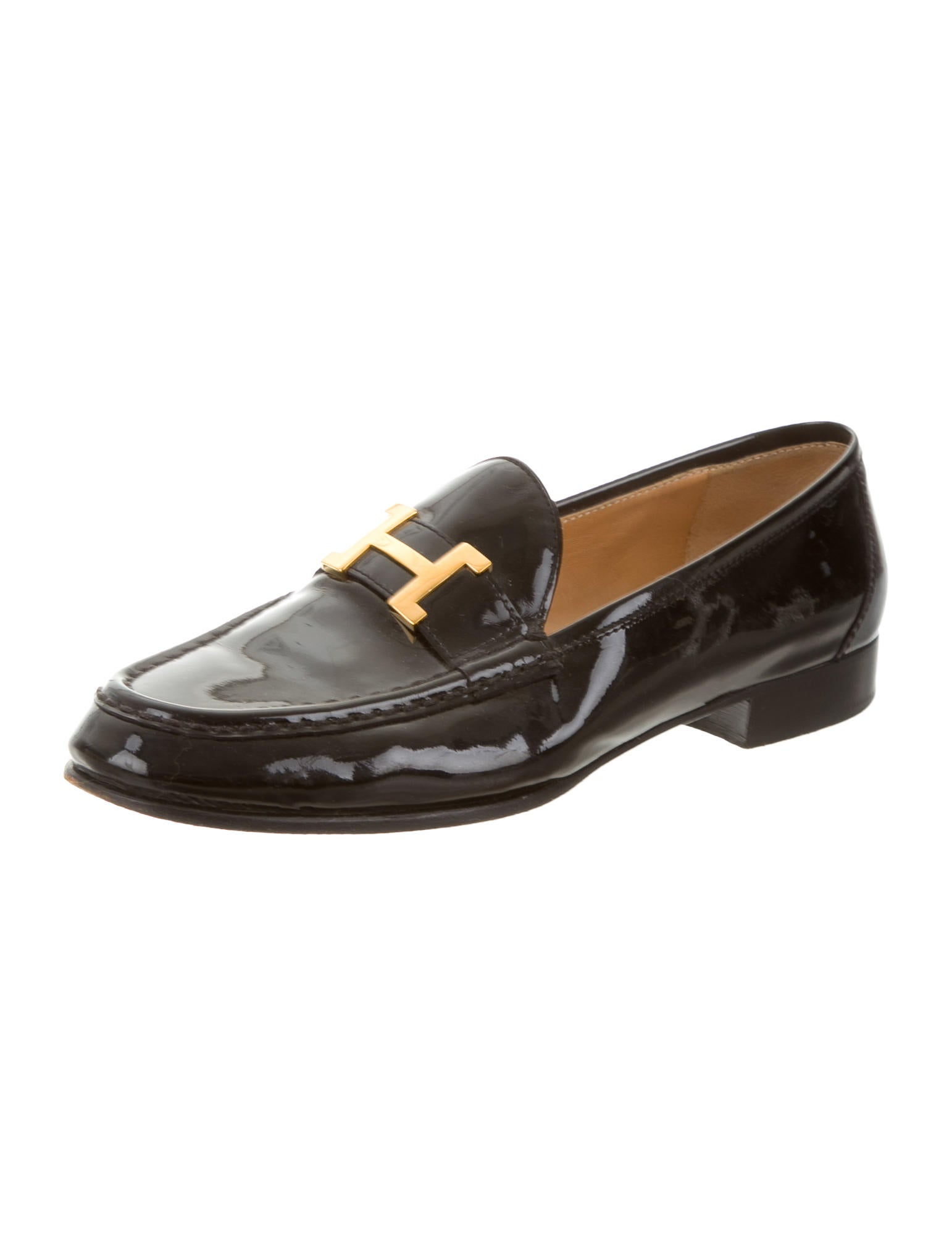 Hermu00e8s Patent Leather Logo Loafers - Shoes - HER74736 ...