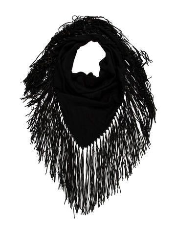 Leather-Trimmed Cashmere Shawl