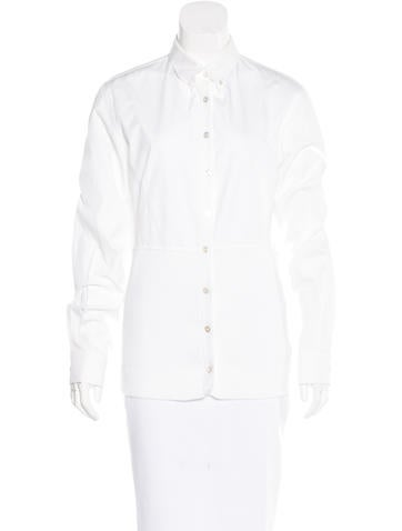 Hermès Rib Knit Button-Up Top None
