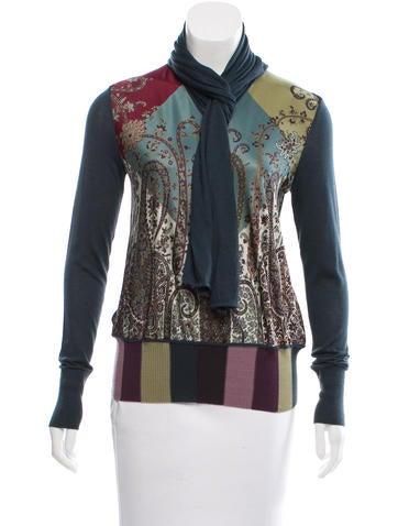 Hermès Tie-Accented Silk-Paneled Top None