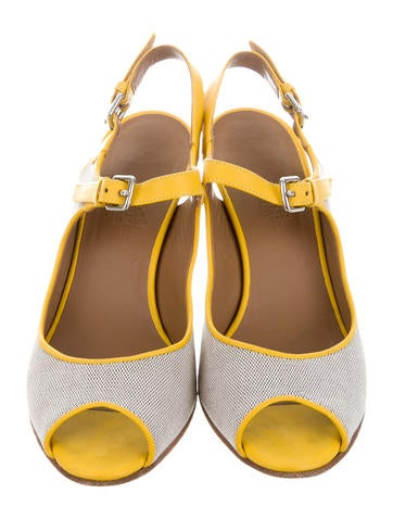 Leather-Trimmed Canvas Sandals
