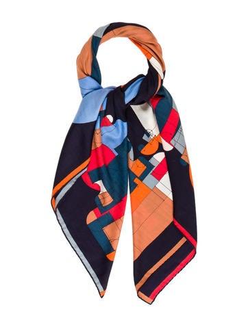 Hermès Echec au Roi Cashmere Silk Shawl