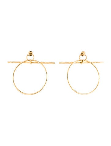 18K Hoop Drop Earrings