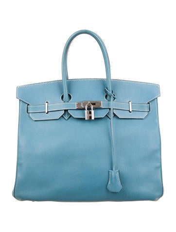 Birkin bag 35 light blue