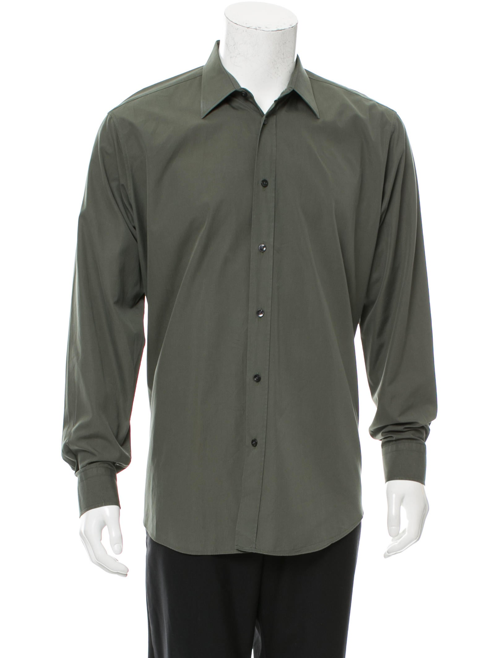 Mens Button Down Shirts. Sort By Preswick & Moore street fancy long sleeve button down shirt with a mini check pattern features buttoned cuffs and an expandable spread collar that stretches up to one inch. 60% Cotton. 40% Polyester. Machine wash. Tumble dry.