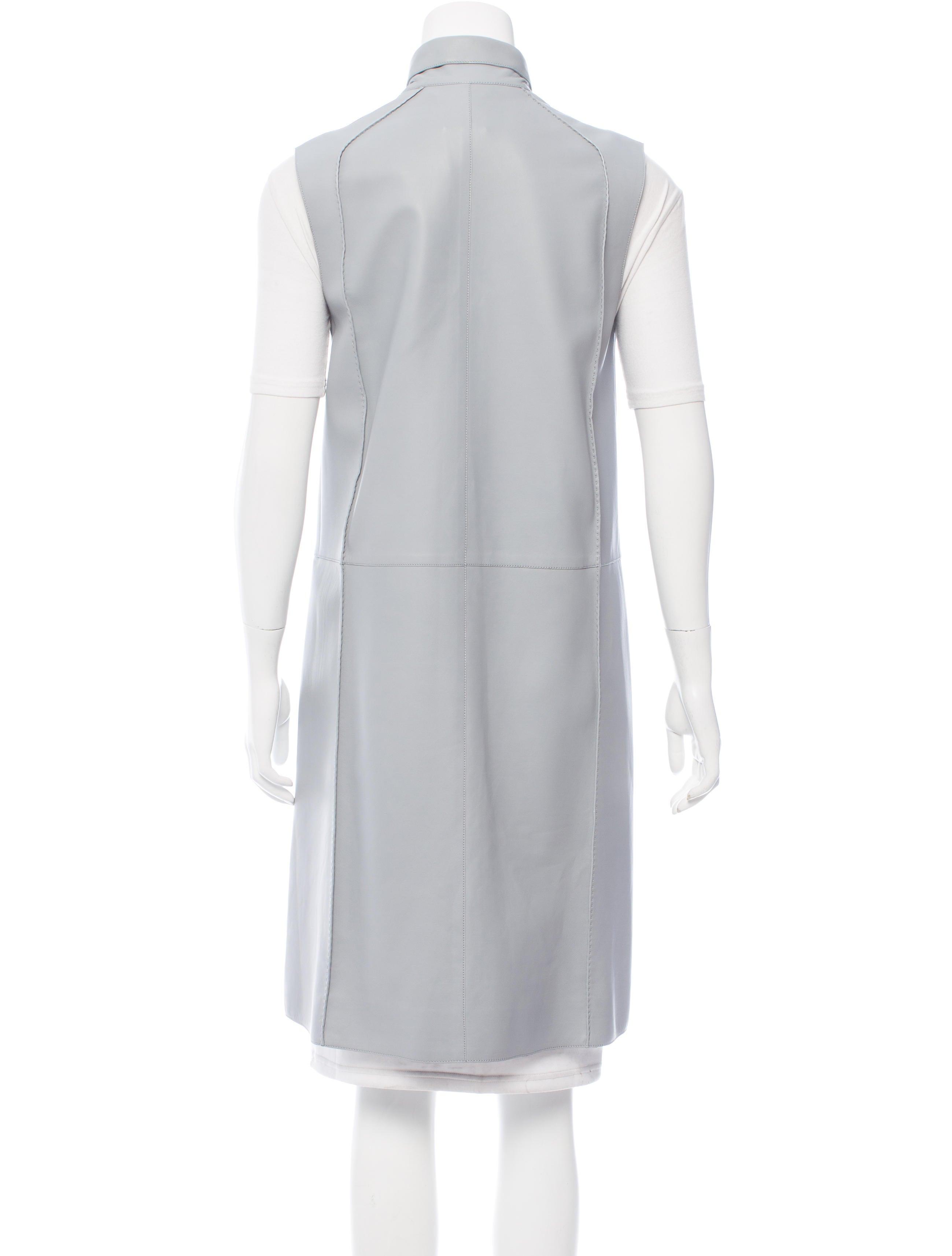 herm s leather long line vest clothing her93511 the realreal. Black Bedroom Furniture Sets. Home Design Ideas