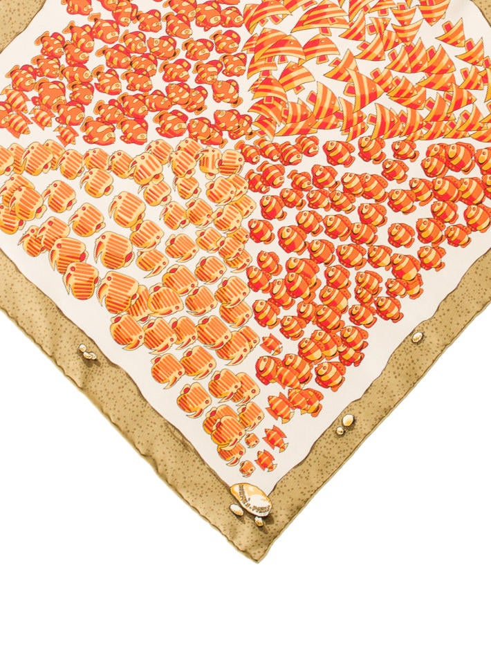 Herm S Goldfish Print Pocket Square Suiting Accessories Her95129 The Realreal