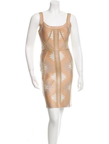 Herve Leger Arizona Jacquard Bandage Dress None