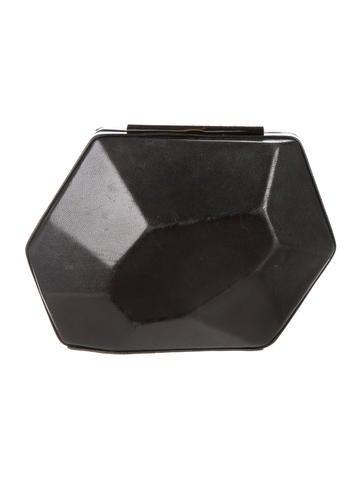 Herve Leger Geometric Leather Clutch None