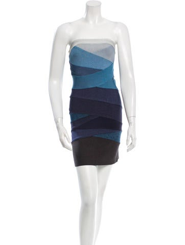 Herve Leger Strapless Bandage Dress None